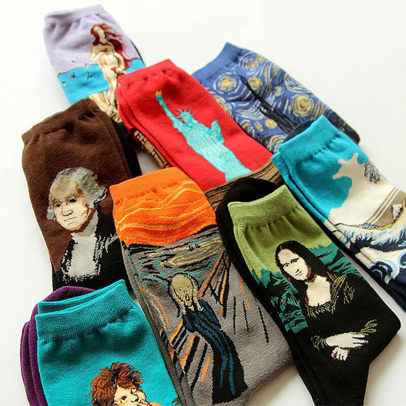 Chaussettes art - différents modèles pliés