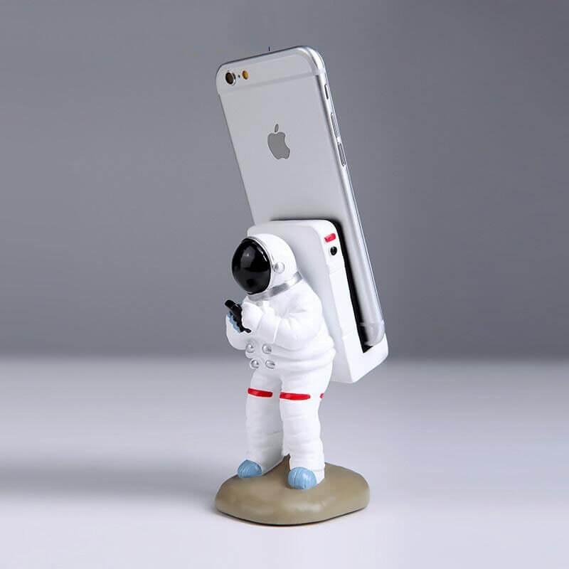 Support pour téléphone astronaute debout- vue de côté