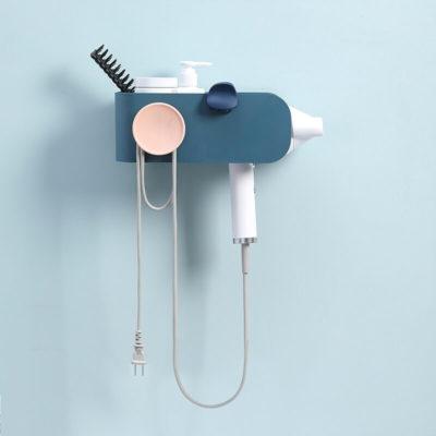 support pour sèche-cheveux bleu foncé - vue de face