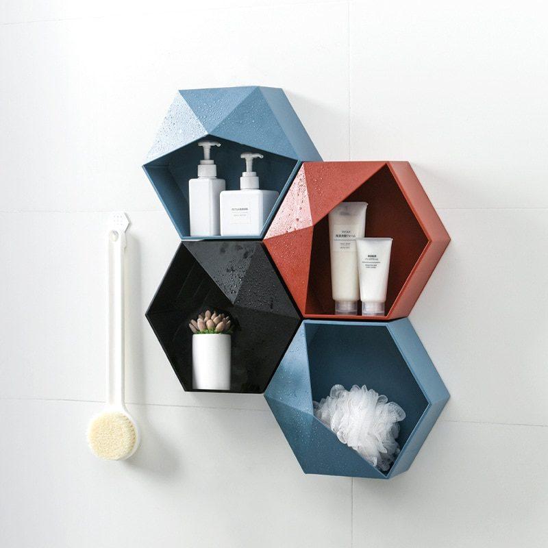 étagère hexagonale par quatre