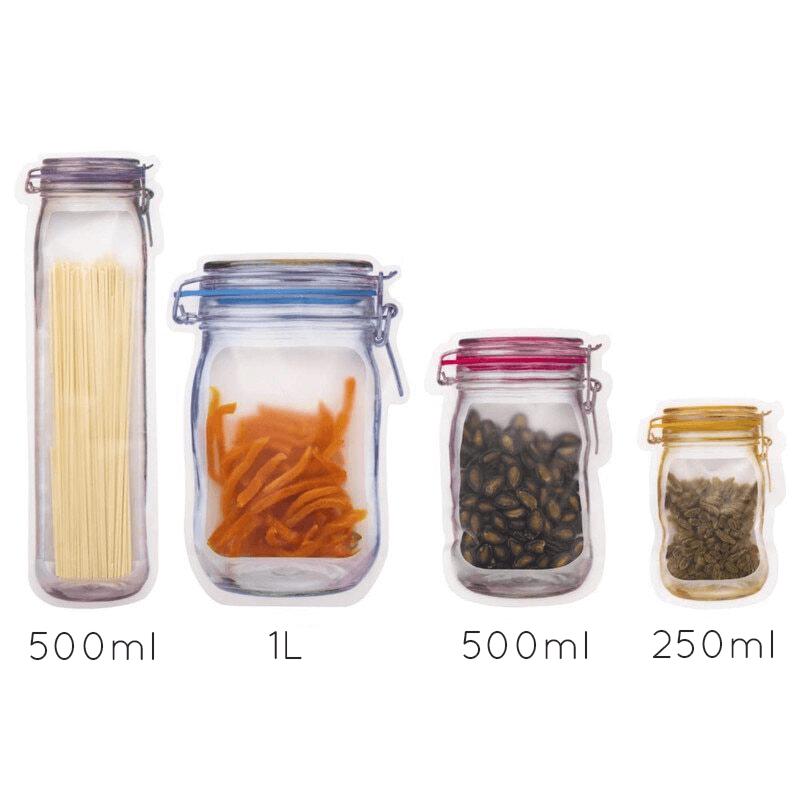 Contenances des sachets de conservation bocal