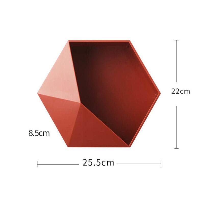 étagère design hexagonale - vue des dimensions