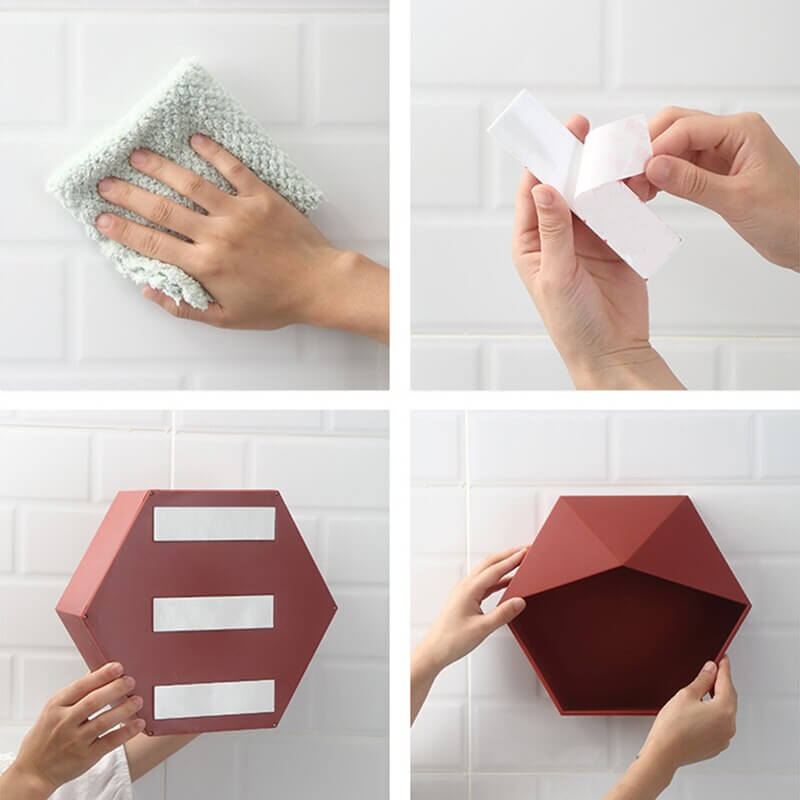 Installations de l'étagère hexagonale design