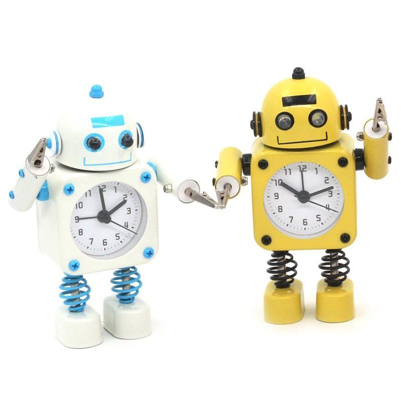réveil robot jaune et bleu