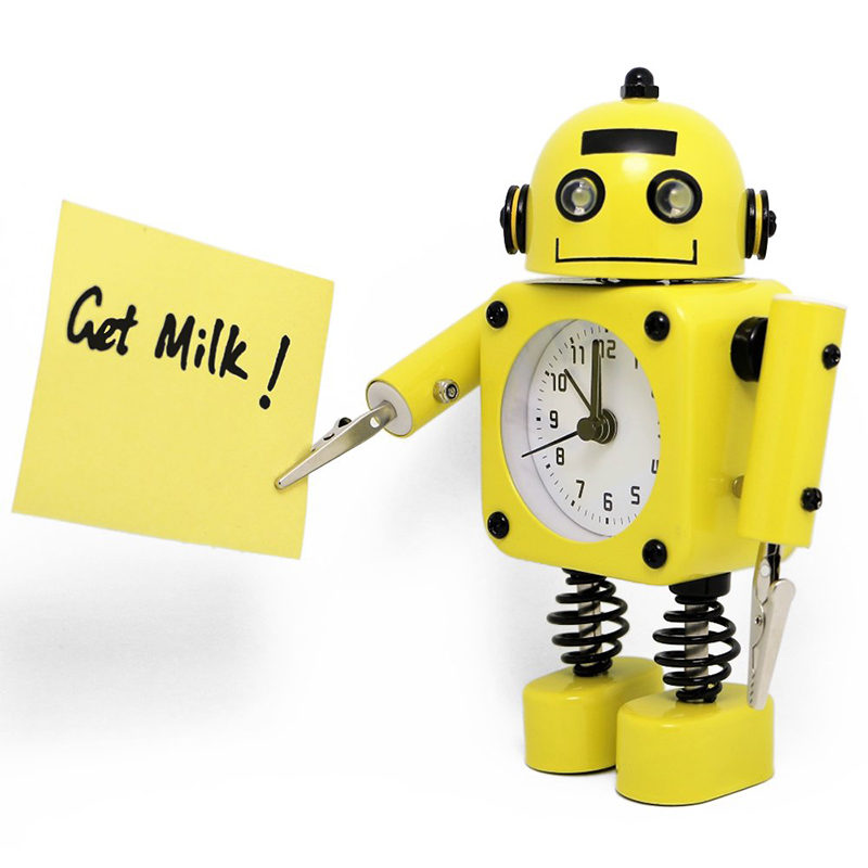 réveil robot jaune de côté
