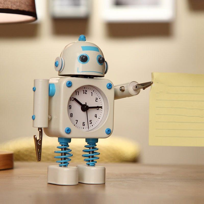 réveil robot bleu