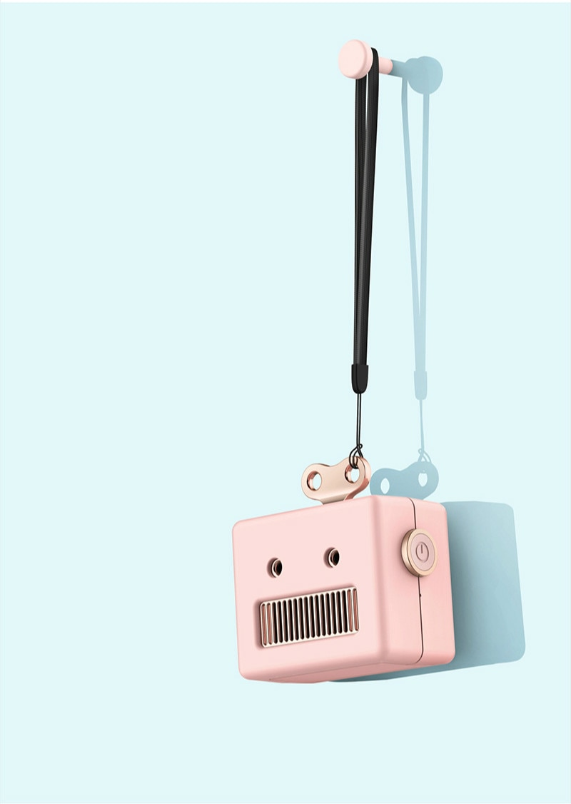 enceinte bluetooth robot rose avec cordon
