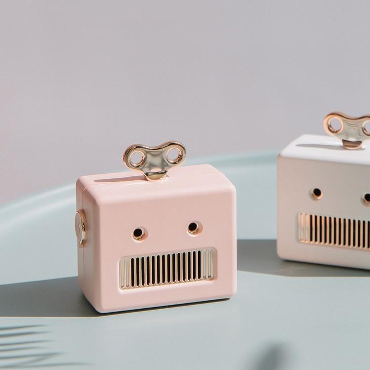 Enceinte robot, modèle rose et blanc