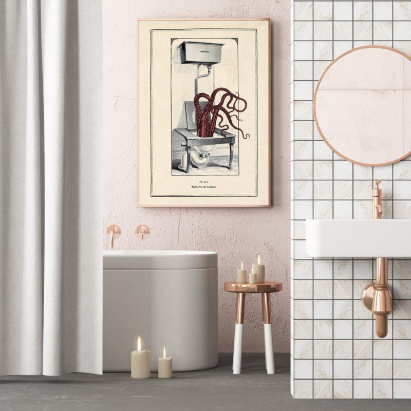 Toile vintage poulpe - décor salle de bain rose
