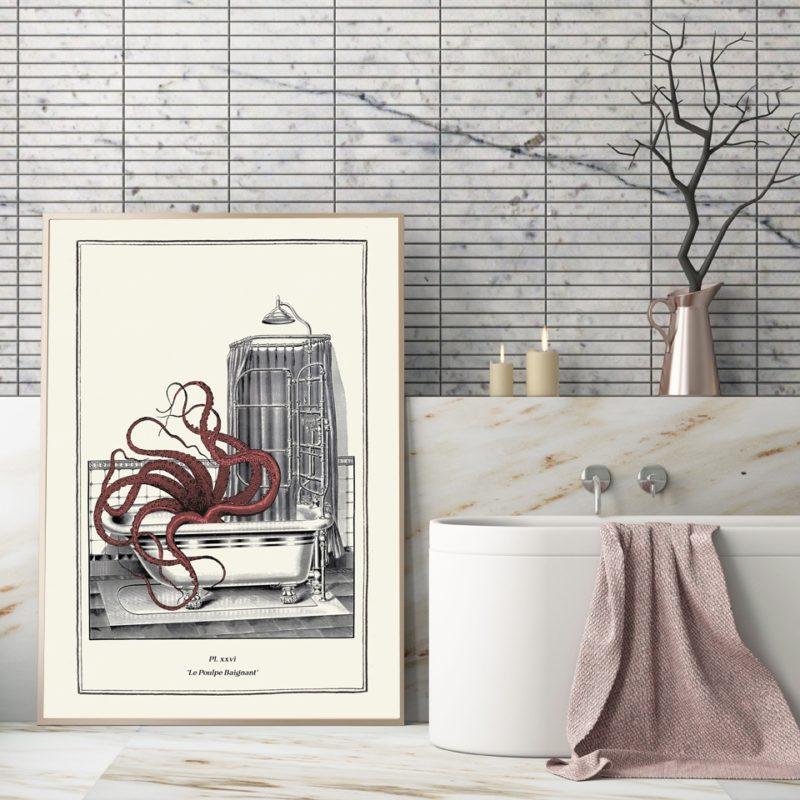 Toile vintage poulpe - décor salle de bain