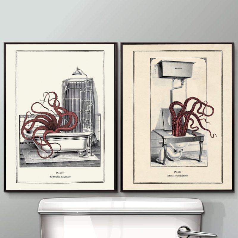 2 Toiles vintage poulpe - décor salle de bain