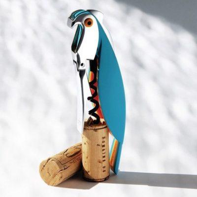 Tire bouchon perroquet bleu avec bouchons