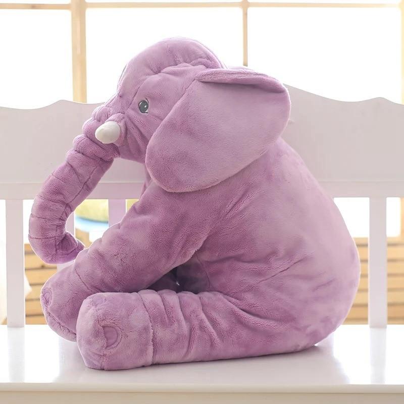 Oreiller éléphant en peluche violet