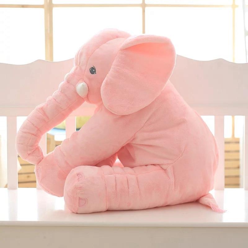 Oreiller éléphant en peluche rose