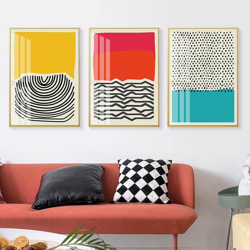toile abstraite colorée dans salon