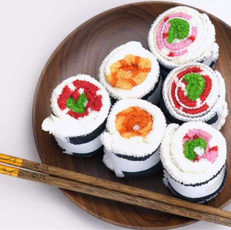 Serviette microfibre roulées en sushi