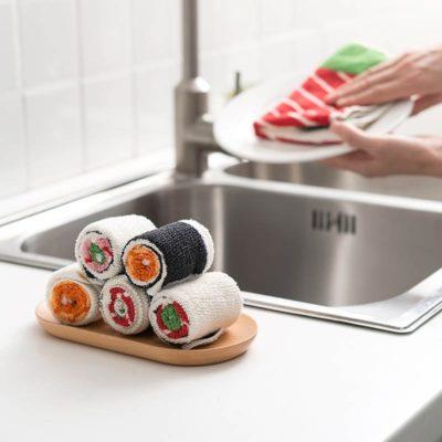 Serviette microfibre sushi - lot de 5