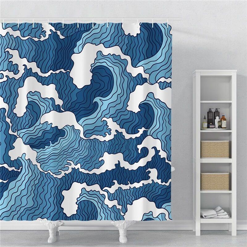 rideau de douche motif vagues japonaises