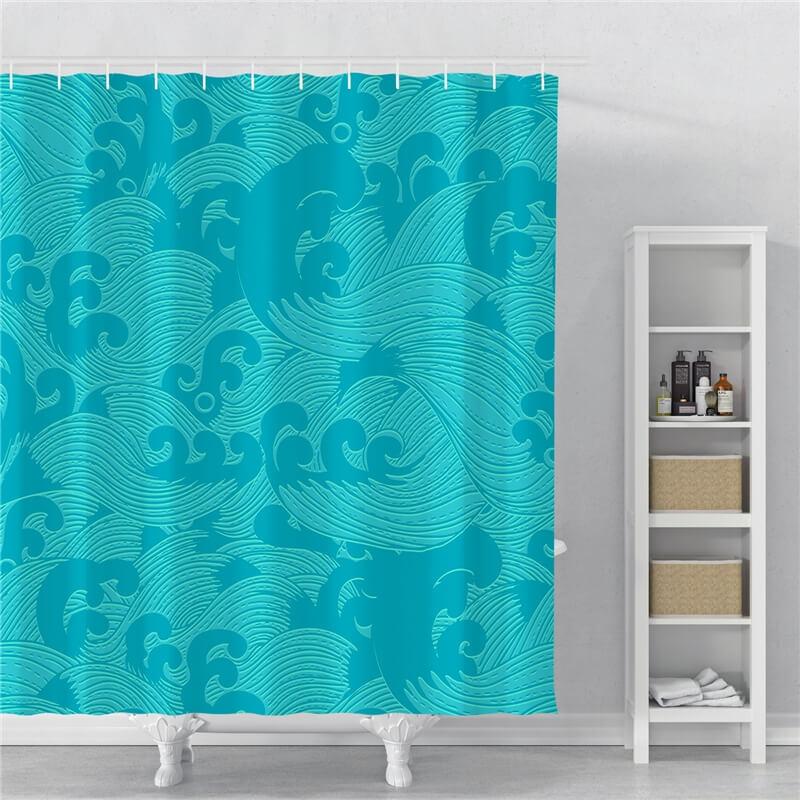 rideau de douche vagues bleu