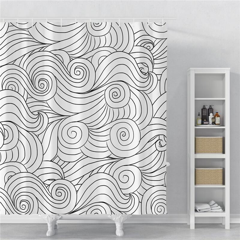 rideau de douche noir et blanc
