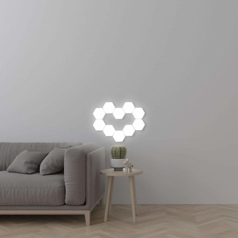 Lampe tactile hexagonale en motif de coeur
