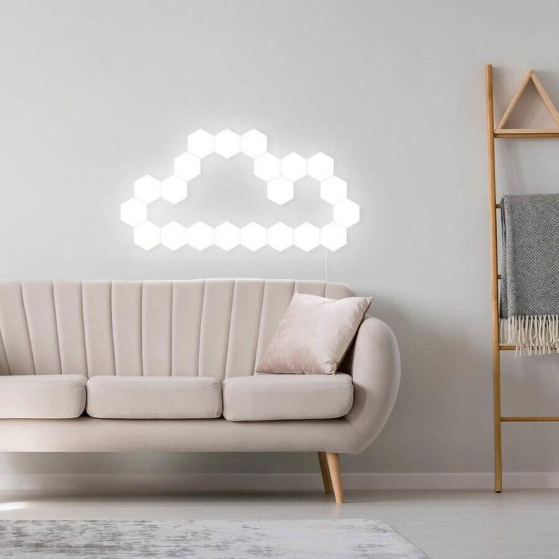 Lampe tactile hexagonale en forme de nuage