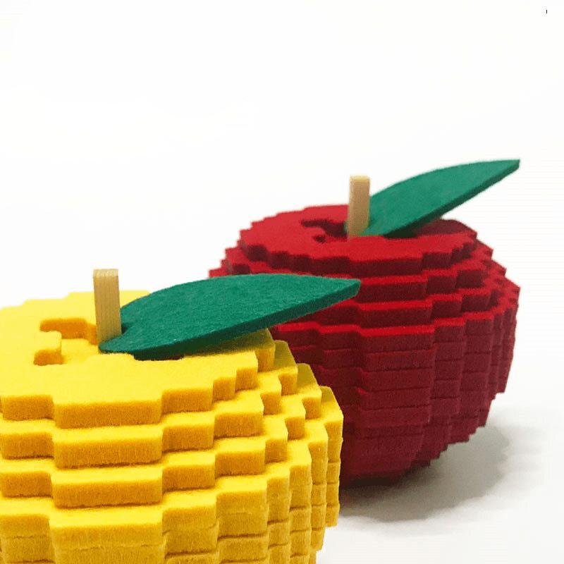 sous verre pixel art en forme de pomme