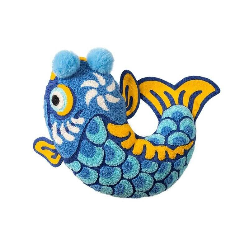Coussin poisson porte-bonheur bleu