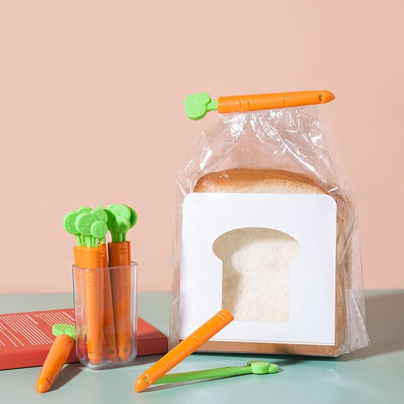 Pince clip pour sac alimentaire en forme de carotte