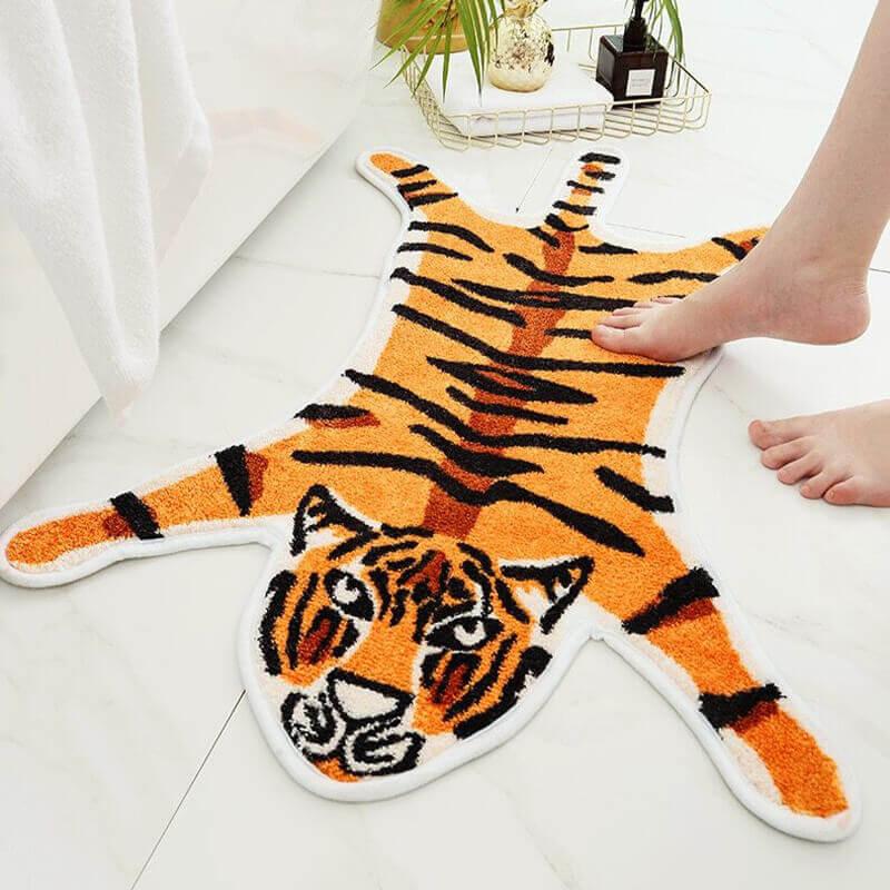 Tapis de salle de bain en forme de tigre - couleur orange